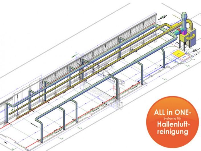 Lufttechnik - Hallenluftreinigung mit Schichtlüftung und Heizung